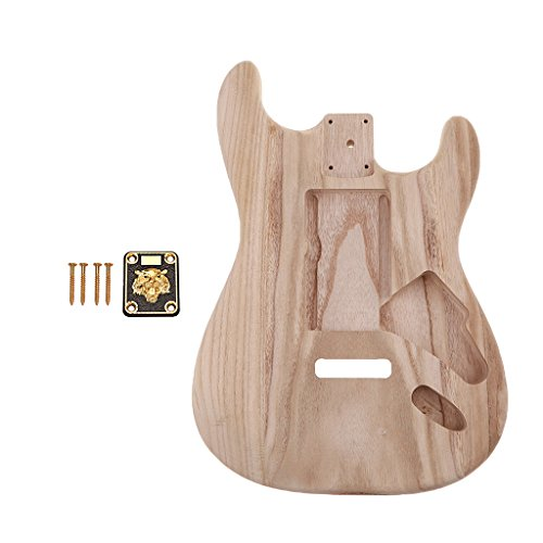 Baoblaze Exquisite DIY Guitar Blank Body Barrel Material with Neckplate for Stratocaster ST Electric Guitar Accessory ()