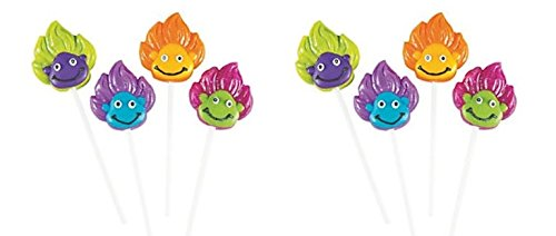 12 TROLL theme funky hair – party lollipops