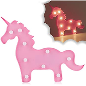 Unicorn Party Supplies Fantasy Themed Décor Marquee Light Desk Table Lamp Mystical Enchanted Gift for Child Kids Baby Girls Bedroom Birthday (Pink Unicorn)