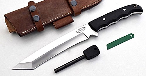 CFK Cutlery Company USA Custom Handmade D2 Tool Steel BATTLE-RAPTOR TANTO Black Micarta Tactical Bushcraft Hunting Knife  Horizontal Leather Sheath …