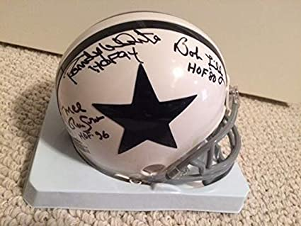 777d827c Bob Lilly+randy White+mel Renfro Hand Signed Dallas Cowboys Mini Helmet -  JSA