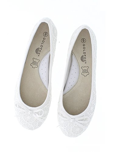 Formal Flat Flats Womans Ballet Shoes Bridal Comfort Wedding Women's Bridal Toe Dressy Bride for Dress Gold White Lace Lauren YPqw1CpxS8