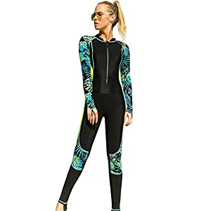 Akaeys Women's Full Body Swimsuit Rash Guard One Piece Long Sleeve Long Leg Swimwear with UV Sun Protection