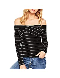 HHmei Women Causal Long Sleeve Striped Print Office Ladies Slash-Neck Top Blouse