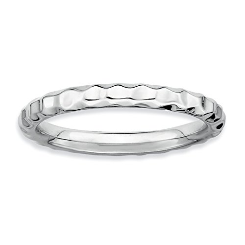 925 Sterling Silver Hammered Band Ring Size 7.00 Stackable Textured Fine Jewelry Gifts For Women For Her
