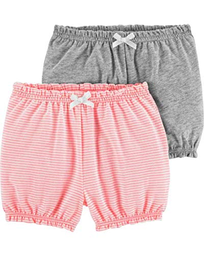 Carter's Baby Girls' 2-Pack Bubble Shorts (Heather/Pink, 12 Months)