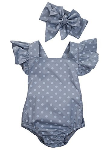 (Ma&Baby Baby Girls Kid Lace Romper Backless Sunsuit Ruffle Sleeve Dress (3-6 Months, Polka)