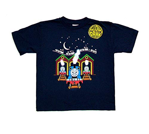 Thomas the Tank At the Station (Glow in the Dark) Blue T-Shirt, Size:4 Junior