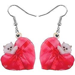 HCBYJ Pendientes de Gota Acrílico Día de San Valentín Amor Corazón Gato Pendientes Gota Cuelgan Joyas para Niñas Adolescentes Decoración Regalo Regalo