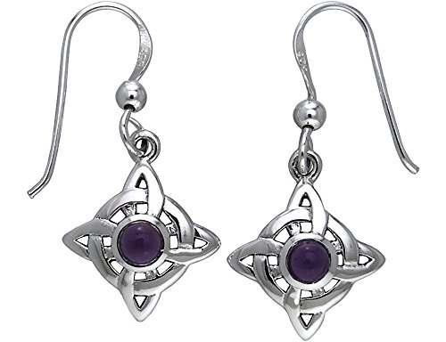 Jewelry Trends Sterling Silver Celtic Quaternary Luck Knot Dangle Earrings with Purple Amethyst