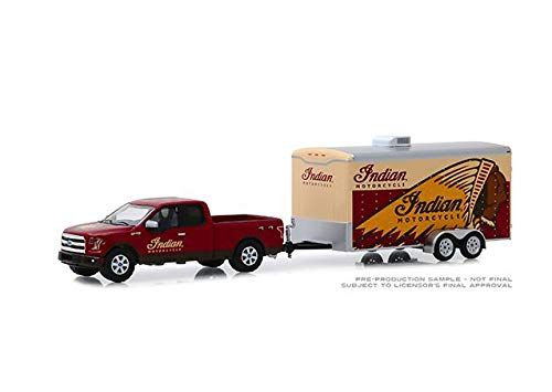 New DIECAST Toys CAR Greenlight 1:64 Hitch & Tow Series 18-2017 Ford F-150 with Enclosed CAR Trailer - Indian Motorcycle (RED) 32180-C from New Greenlight