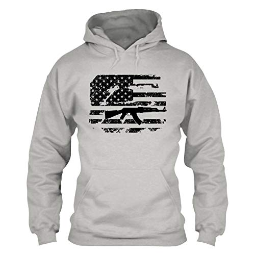 AK 47 American Flag Unisex Pullover Hoodie, Long Hoodie Ash,3XL (Ak 47 Pill)