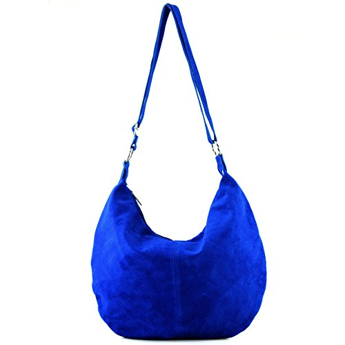 Royal Blue suede bag handbag T02 Italian shopper bag shoulder leather bag real Women's 0w7qP