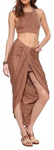 Allonly Women's Sexy 2 Pieces Tank Tops Bodycon Maxi Skirt Party Clubwear Set (L, Brown)