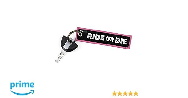 """Keytails - Llaveros de alta calidad para motocicletas, scooters, ATV, UTV. Con el texto en inglés """"Ride Or Die""""."""