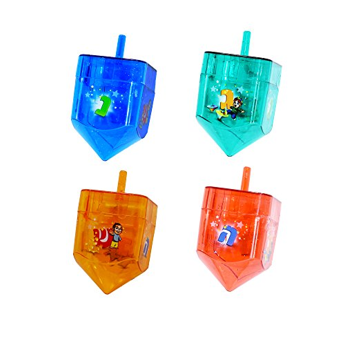 - Izzy 'n' Dizzy 4 Pack Fillable Dreidels - Great for Chocolate Coins and Candy - Assorted Random Designs - Large