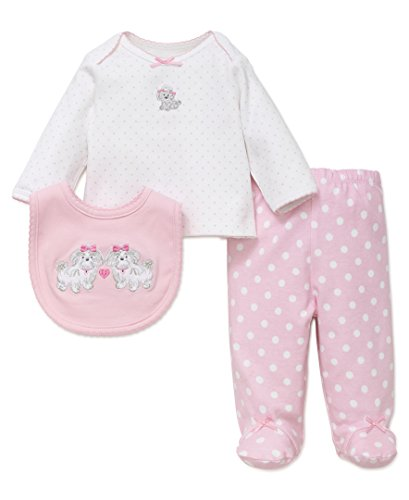Little Me Baby Girls' 3 Piece Lap Shoulder Set With Bib, Cute Puppies, 6 Months
