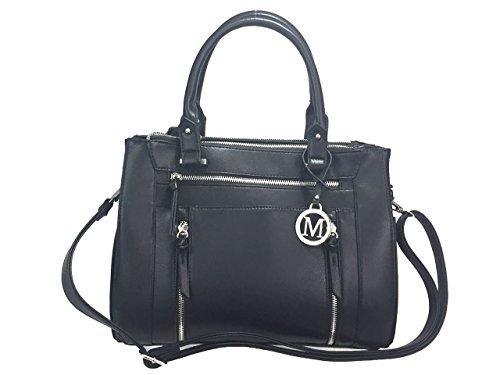 ZzFab Multi Zippers Fashion Locking Faux Leather Concealed Carry Gun Shoulder Bag Black (Carry Bag Fashion)