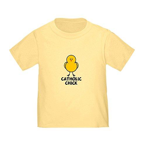 CafePress Catholic Chick Toddler T-Shirt Cute Toddler T-Shirt, 100% Cotton Daffodil Yellow