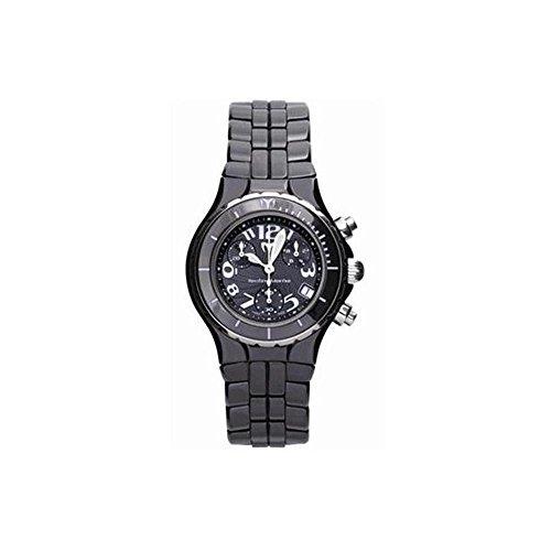 (TechnoMarine Women's TCB02C MoonSun Ceramic Silver-Plated Black Watch)