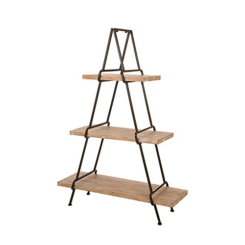 Rack Magazine Ladder (Glitzhome Rustic Storage Shelves Units 3-Layers Metal Plant Stand)