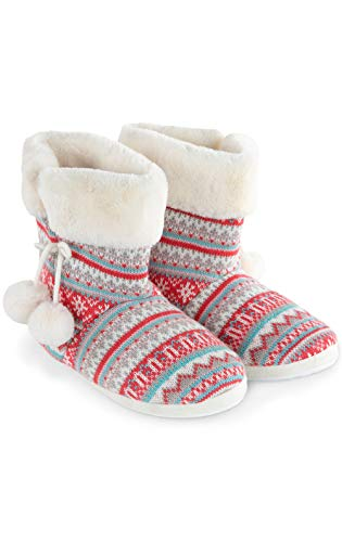 Addison Meadow Womens Slipper Boots - Womens Slippers, Pink Fair Isle, LG 10-11