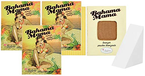 The Balm Cosmetics Bahama Mama Bronzer, Shadow & Contour Powder Travel Size, 3 Count (Free Cosmetic Wedge Sponge Included)