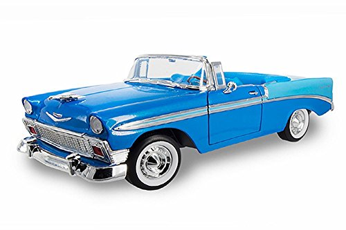 1956 Chevrolet Bel Air Convertible, Blue with Light Blue Trunk - Road Signature 92128 - 1/18 Scale Diecast Model Toy Car ()