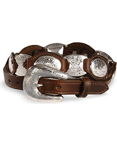 [Tony Lama Women's Concho Link Leather Belt Brown 36] (Brown Leather Concho Belt)