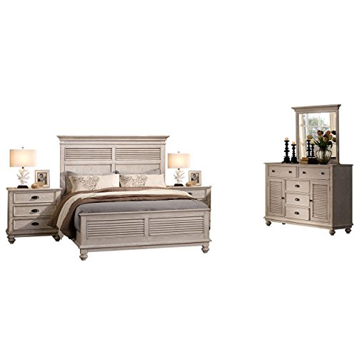 Ladella 5 Piece Cape Cod Shutter Panel Queen Bed, 2 Nightstand, Dresser & Mirror in White Driftwood (Bedroom White Cod Cape Furniture)