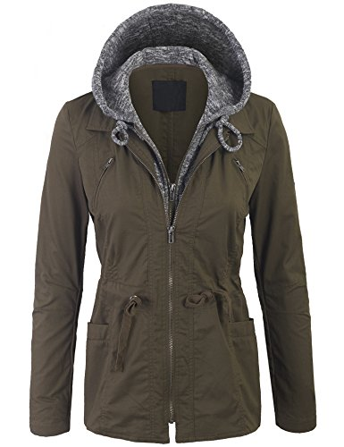 KOGMO Womens Military Anorak Jacket with Knit Hood and Pockets-M-Olive
