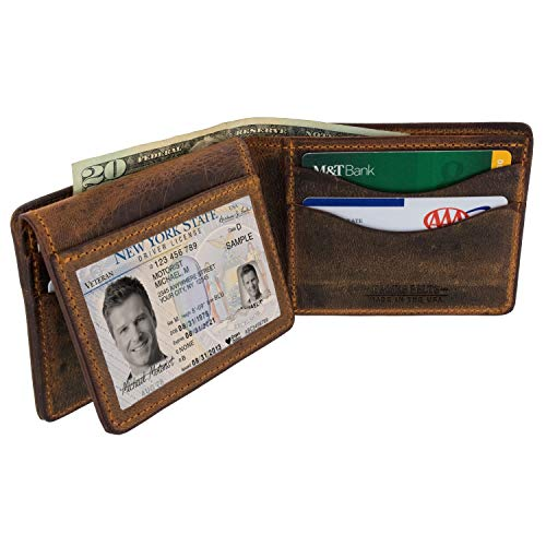 (Hanks Belts Deluxe Bison Bifold Wallet With ID Window - Rich Brown)