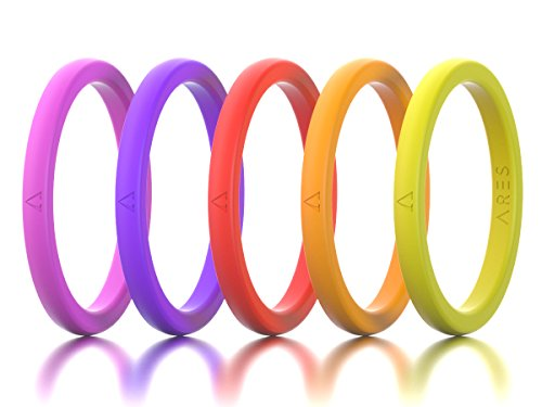 Best Silicone Wedding Ring for Women, 5-Pack, 100% Hypoallergenic Skin-safe Medical Grade Silicone, Thin Comfortable Design in Neon Colors for Exercise, Fitness, Crossfit, Military & Medical (5 Pack Silicone Skin)