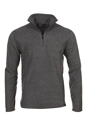 Swiss Alps Mens Charcoal Grey Polar Fleece Quarter Zip Sweatshirt, 2XL ()