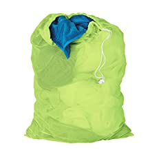 Honey-Can-Do LBG-02810 Mesh Laundry Bag with Drawstring, Neon Green, 25-inches L x 36-Inches H