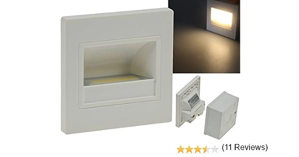 Lámparas LED empotrables para pared cuadrado blanco, LED COB de 1,5 W luz blanca cálida 94 x 94 mm 230 V IP40, para luz de escaleras, niveles de, montaje empotrado: Amazon.es: Electrónica