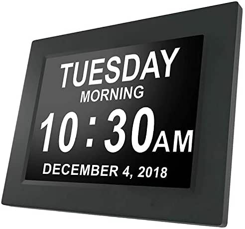 [Newest Version] Cambridge Labs by American Lifetime Day Clock - Extra Large Impaired Vision Digital Clock with Battery Backup & 5 Alarm Options - (Black Polish)