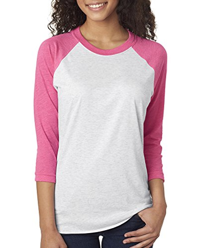 Cindy Apparel Next Level 6051 Women's Tri-Blend 3/4-Sleeve Extreme Softness Raglan Tee Shirt Medium Pink/Heather White (Sleeve Blend Tri Raglan)