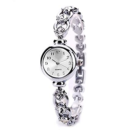 Amazon.com: Women Crystal Rhinestone Dress Watch Montre Femme Elegant Gold Bracelet Steel Quartz-Watch Gifts (Silver): Cell Phones & Accessories