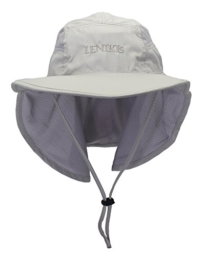 (Lenikis Unisex Outdoor Activities UV Protecting Sun Hats with Neck Flap Grey)