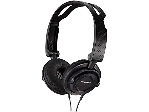 Panasonic RP-DJS150M Foldable Travel Headphones with Microphone and Switch for Calls, Black