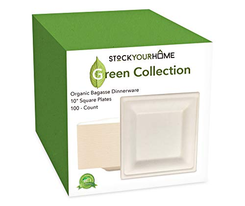 Compostable 10 Inch Square Bagasse Plates Eco Friendly Disposable Sugarcane Plates 100 Pack – Stock Your Home