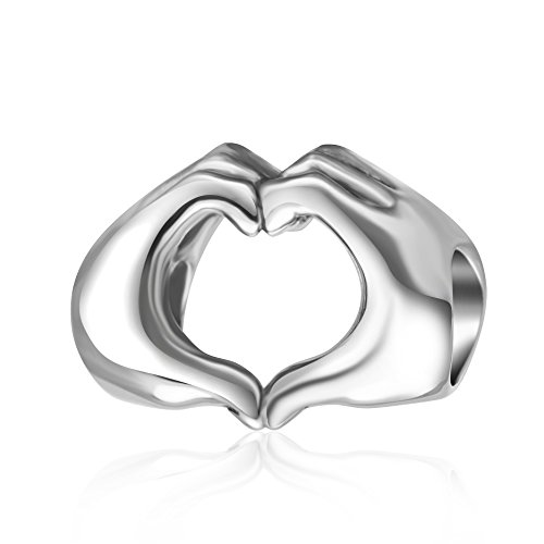 Price comparison product image 925 Sterling Silver Love Heart in Your Hands Charm for Charms Bracelets,  Valentine's Day Gifts Idea