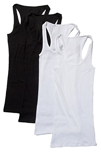Zenana Outfitters 4 Pack Womens Basic Ribbed Racerback Tank Top WHITE/WHITE/BLACK/BLACK S