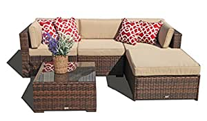 Super Patio Outdoor Patio Furniture Set, 5 Piece Outdoor Furniture Sectional Set, All Weather PE Brown Wicker Set Sofas with Glass Coffee Table and Ottoman, Steel Frame, Beige Cushions