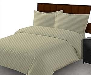 100% algodón egipcio 600TC 1pieza sábana UK Tamaño de funda de edredón color marfil diseño de rayas