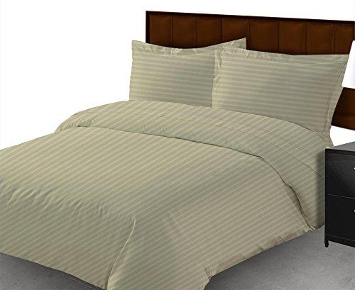 100 %エジプト綿600 TC 3ピースフィットシートセット16インチ深いポケットEuro King IKEAサイズアイボリー色ストライプパターン B01DLZCPJO