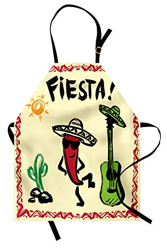(Ambesonne Fiesta Apron, Mexican Party with Maracas Dancing Red Pepper Wearing a Sombrero and Guitar, Unisex Kitchen Bib with Adjustable Neck for Cooking Gardening, Adult Size, Green Cream)