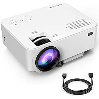 DBPOWER T20 1800 Lumens LCD Mini Projector, Multimedia Home Theater Video Projector Support 1080P HDMI USB SD Card VGA AV Home Cinema TV Laptop Game iPhone Android Smartphone with HDMI Cable, Upgraded