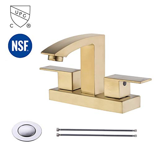 KES cUPC NSF Certified BRASS Two Handle Bathroom Faucet with Drain Assembly Lavatory Vanity Sink Faucet 4-Inch Centerset Morden Square Hotel Style Brushed PVD Zirconium Gold, L4101BLF-BZ